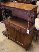 A reproduction Regency style mahogany chiffonier, width 68cm depth 30cm height 102cm