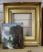 Follow of John Constable (1776-1837), oil on board, Boatman in a landscape, old attribution verso,