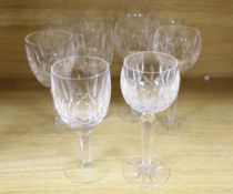 A set of five Waterford Lismore crystal hock glasses and five matching red wine glasses, height