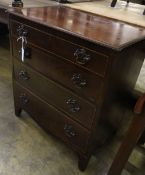 A small George III style mahogany chest, fitted four long drawers, width 66cm depth 43cm height