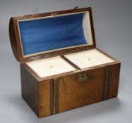 A Victorian domed topped inlaid and crossbanded walnut tea caddy, 23cm