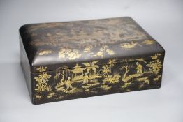 A 19th century Chinese lacquer sewing box, with ivory sewing items