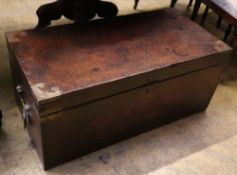 A Victorian brass mounted mahogany trunk, width 91cm depth 45cm height 40cm
