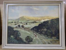Godwin Bennett (1888-), oil on canvas, View from Coombe above Offham, Lewes, signed, 30 x 40cm