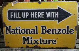 A vintage National Benzole Mixture enamel sign, 91 x 60cm