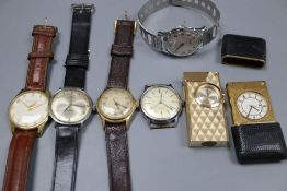 Five assorted wrist watches including Mondia, Ingersoll & Inventic and a travelling watch and a