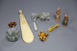 Assorted Chinese items including ivory and jade, hardstone etc.