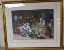 S.C (19th C.), watercolour and gouache, Religious scene, monogrammed, 32 x 44cm