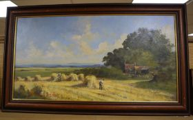English School, oil on canvas, Harvesters in a landscape, indistinctly signed, 40 x 75cm