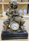 A 19th century gilt metal mantel clock, French bell-striking movement, 52cm high