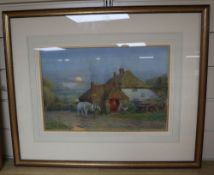 Alfred Fitzwalter Grace (1844-1903), watercolour, The Blacksmith's Forge, Houghton, Sussex, signed