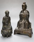 A Chinese bronze deity, together with a composite figure, height 23cm