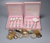 Mixed costume jewellery etc. including a pair of gilt metal and agate set bracelets.