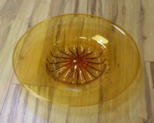 A Murano amber glass charger, circa 1930's, 45cm