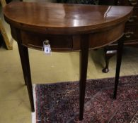 A George III style mahogany demi lune card table, width 86cm, depth 43cm, height 76cm