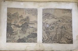 A pair of old hand-painted Chinese paintings on silk, with script, signed, overall width 58cm