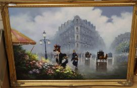 After Jean Mannheim (1863-1945), oil on canvas, French flower market, signed, 60 x 90cm