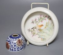 A Chinese porcelain brush holder, diameter 7cm and a Chinese enamelled shallow bowl, paintwork