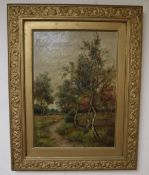 English School (19th/20th century), wooded landscape with sheep in the background grazing near a
