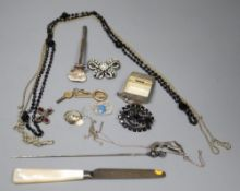 A small group of Victorian and later item including costume jewellery, silver fruit knife, gem set