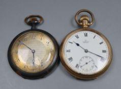 A Gold plated pocket watch and a gun metal pocket watch.