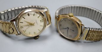 Two gentleman's wrist watches including a 9ct Rotary manual wind watch.