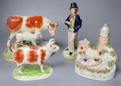 Victorian Staffordshire pottery including Grace Darling and Gin/Water, later 21cmCONDITION: Gin-
