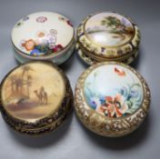 Four Japanese porcelain bowls and covers, two by Noritake, 17cmCONDITION: Repaired chip to bowl neck