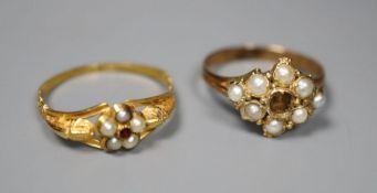 Two late Victorian yellow metal rings- garnet and seed pearl cluster and seed pearl cluster(stone