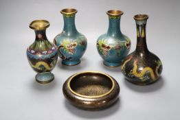 A pair of Chinese cloisonne enamel vases, 17cm and three other cloisonne vessels