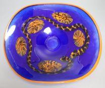 A free blown coloured glass dish, signed R. Weninger, '99, for Norske Skog International Golf,
