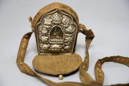 A Tibetan silver mounted portable shrine