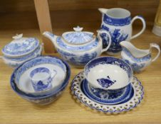 A collection of 18th/19th century English blue and white transfer-printed wares, comprising an ovoid