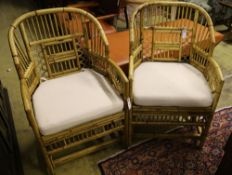 Four bamboo conservatory armchairs