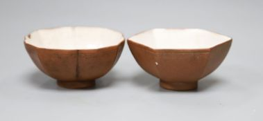 Two 18th century Chinese Yixing cups, height 3cm