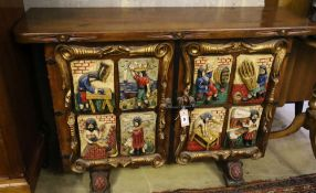 A Spanish carved, painted two door side cabinet, width 118cm, depth 34cm, height 80cm