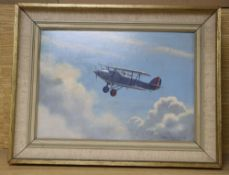 Roy A. Nockolds (1911-1979), oil on board, Swordfish bi-plane in flight, signed, 24 x 34cm