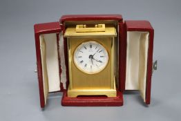 A cased Pontifa carriage timepiece, height 11.5cm incl. case
