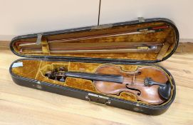 A cased violin with two bows. Violin bears the label Carl Willhelm Claesel, circa late 18th