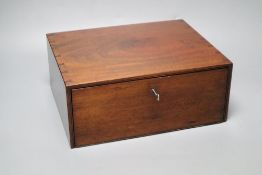 A mahogany file box, with key, height 13cm width 32cm