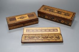 A Tunbridge Ware games box, with cribbage top, two cribbage boards and a playing card