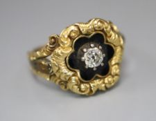 A William IV gold (tests as 14ct) and black enamel memorial ring set with a single diamond, size K/