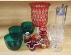 A claret jug with plated mount, Victorian rummer, three Bristol green glass bowls, ruby and