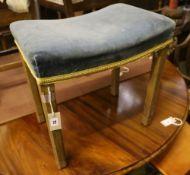 An Elizabeth II limed oak Coronation stool, width 47cm, depth 32cm, height 48cm
