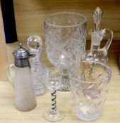 Five items of glassware, including a large goblet-shaped footed vase, possibly by Thomas Webb,