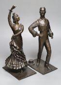 S. Mitchell. A pair of bronze Spanish dancers, dark patination, height 38cm