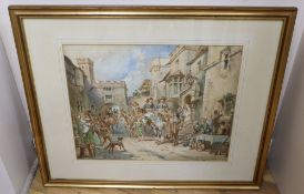 Charles Cattermole (1832-1900), Street scene with equestrian and other figures, signed, watercolour,