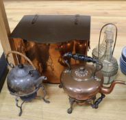 A Christopher Dresser style plated kettle, a copper coal box, a copper kettle and a plated two-