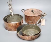 Three copper saucepans and three other copper cooking utensils