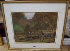 George Marks (1857-1933) watercolour, Fallen Tree, signed, 27 x 36.5cm